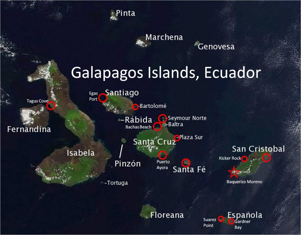 Ecuador Galapagos Boat San Cristobal Santa Fé And South - Map where is the galapagos islands relative to the us
